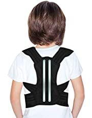 Back Posture Corrector for Kids and Teens, Adjustable Upper Back Brace Clavicle Support Brace with Soft Shoulder Pads and Elastic Belts for Thoracic Kyphosis, Improve Slouching and Humpback - M