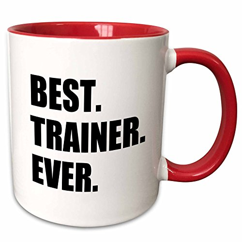 3dRose 185019_5 Best Trainer Ever Fun Gift For Training Job Appreciation Black Text Two Tone Mug 11 oz