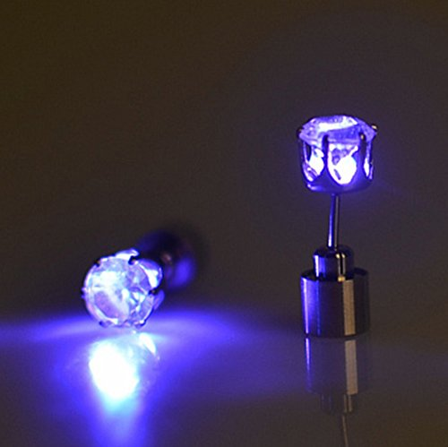 WandLee One Pair Bright Stylish LED Earrings Glowing Diamond Crown Shaped Ear Studs, Light Up Flashing Blinking Earring Dance Party Fan Club Accessories, Purple