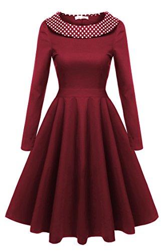 Delle Vestito Collo Tunica Rosso Beyove Manica Altalena B Donne Una Anello Linea Ad Lunga vino Allentata Casuale 4qO1d
