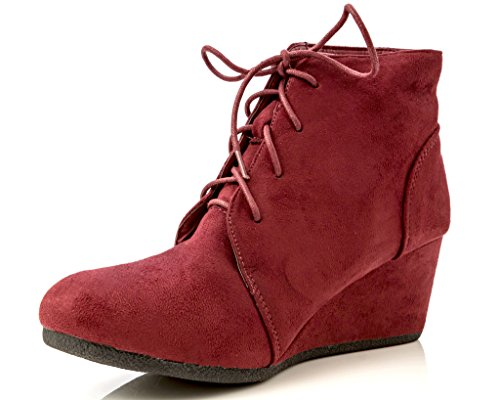 's Brushed Suede Lace-up Wedge Ankle Booties in Burgundy Size: 6 ()
