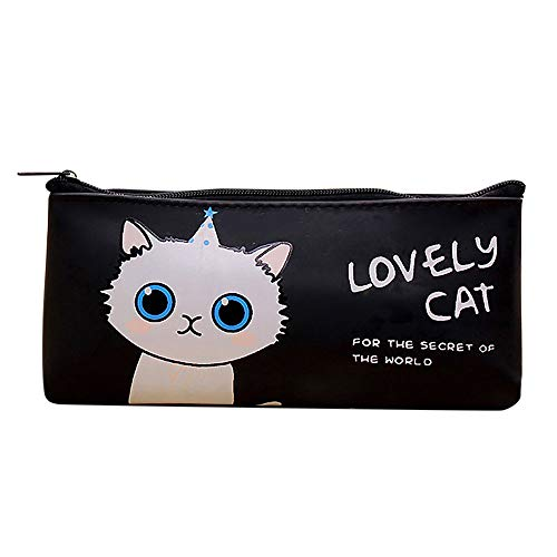 (1KTon Lovely Cat Print Pencil Case Cosmetic Makeup Bag Pen Pencil Stationery Pouch Bag Case/PU Leather Students Stationery Pouch Zipper Bag for Pens, Pencils, Markers)