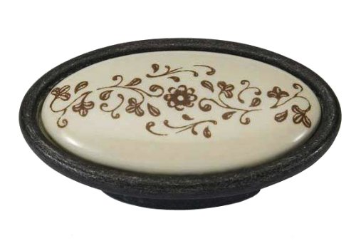 Giusti P18.01.A4.C2G Romantic Oval Knob with Ivory Porcelain, Oil Rubbed Bronze