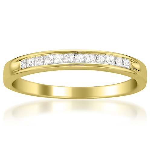 - La4ve Diamonds 14k Yellow Gold Princess-cut Diamond Bridal Wedding Band Ring (1/4 cttw, I-J, I2-I3), Size 7