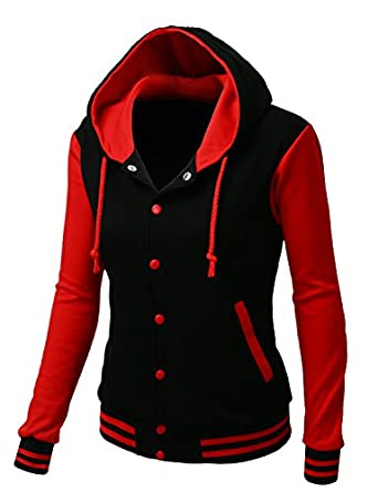 Xpril Women's Stylish Fabric Hoodie Baseball Jacket Overcoat at ...