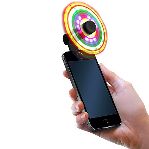 FlashFan - Light Up Fans for Cellphone - Flash Fan LED Phone Fan - (Android MICRO USB Only Model) Burning Man, EDC, Mardi Gras, Festival, or Halloween (Black) -