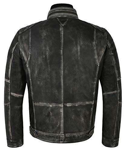 Black 1501 Distress Leather Cuir Pour Agneau Smart Hommes Range Co Vintage En Biker Ltd Veste Old Look Style xTnn1Owqz