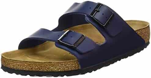 Birkenstock BIRK-51751 Arizona Leather Sandals, Blue, 43