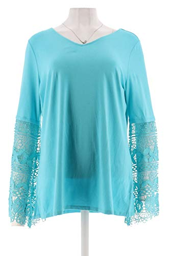 Belle Kim Gravel TripleLuxe Knit Lace SLV V-Neck Top Turquoise XL New A301564 from Belle by Kim Gravel
