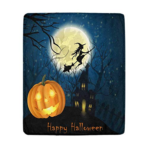 InterestPrint Halloween of Witch on The Full Moon Super Soft Lightweight Warm Cozy Plush Blanket for Couch,Bed, Chair 50 x 60 Inches]()