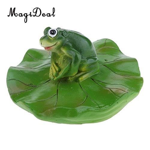 ZAMTAC Artificial Resin Green Frog Craft with Lotus Leaf Frog Water Floating Ornament Garden Pond Decoration - (Color: d)