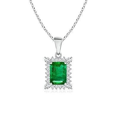 Angara Platinum Diamond Halo Emerald Teardrop Pendant NC1OIFQV4