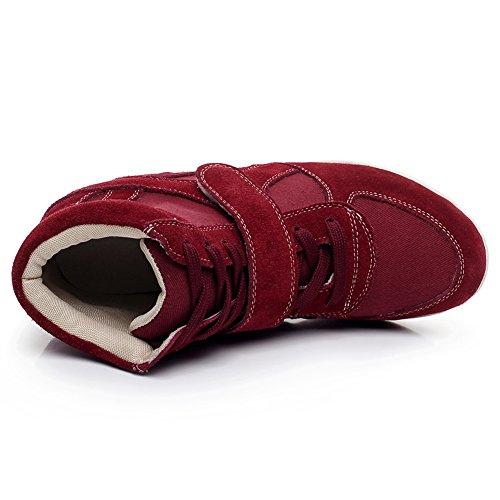 Shenn Mujer Gran Venta Comodidad Talón de Cuña Bucle de Gancho Moda Zapatillas 8522 Borgoña