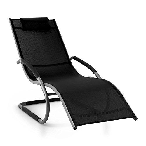 Sedie Sdraio Per Giardino.Blumfeldt Sunwave Sedia Sdraio Da Giardino Relax In Alluminio Nera