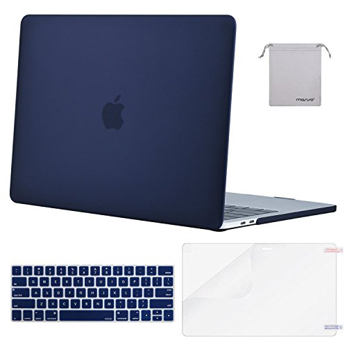MOSISO MacBook Pro 13 Case 2018 2017 2016 Release A1989/A1706/A1708, Plastic Hard Shell & Keyboard Cover & Screen Protector & Storage Bag Compatible Newest Mac Pro 13 Inch, Navy Blue