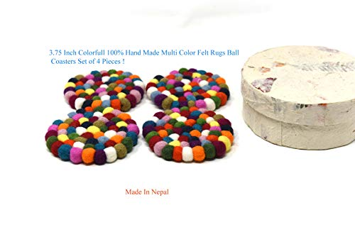 Multi Colored Beautiful (3.75 Inch Multi Colored Felt ball coasters (Extra Large-Set of 4, Multicolor) - Premium Felt Wool Drink Coasters Set- Comes With Handmade Lokta Gift Box - Multicolor, Scratch Free, Abso)