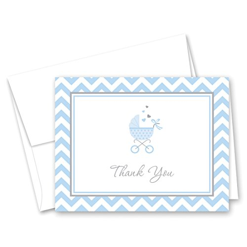 50 Cnt Blue Carriage Baby Shower Thank You Cards