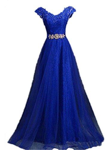 Vestidos Encaje De Real Tul Largo V Noche Vestido Bola Azul cuello Fiesta qIY7dwp