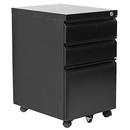Locking File Cabinet, 3 Drawer Rolling Metal Filing Cabinet (Black)