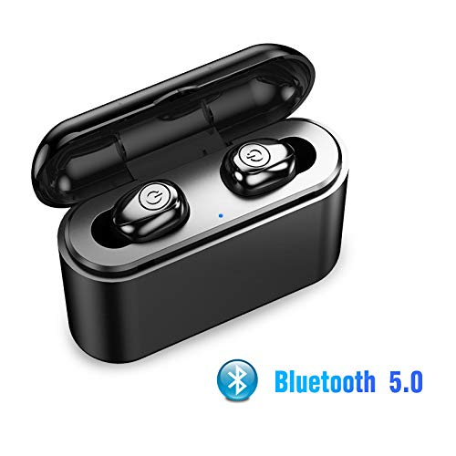EEEKit TWS Bluetooth 5.0 Earbuds True Wireless Stereo Headphones IPX6 Waterproof in-Ear Wireless Charging Case Built-in Mic Headset Premium Sound with Deep Bass for Running Sport