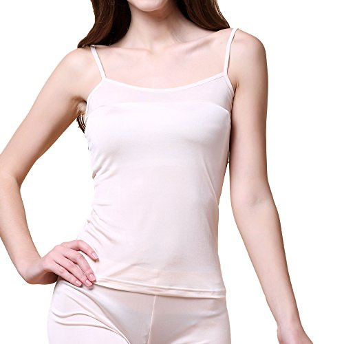 Pure Silk Knitted Women's Camisole Tank Top[US6,Pink] (Silk Underwear Knit)