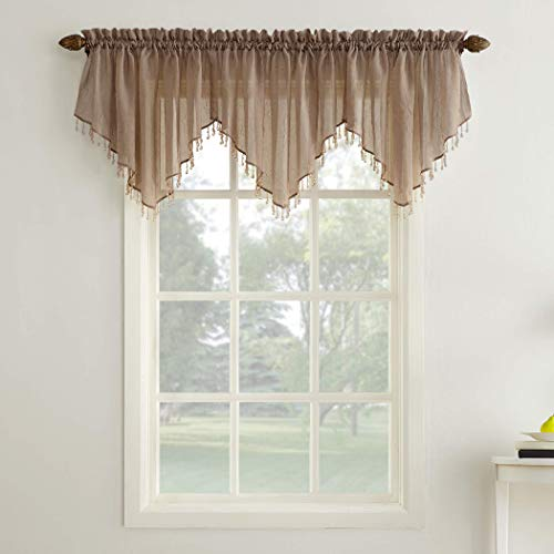 No. 918 Erica Crushed Sheer Voile Ascot Beaded Curtain Valance, 51