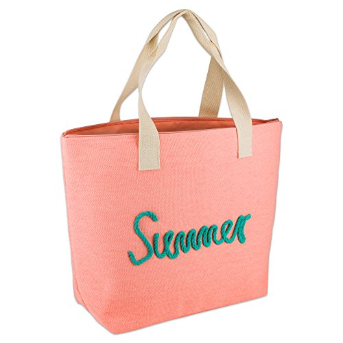 DII Knotty Summer Beach Bag 15.5x21x6.25 Shoulder Travel Tote Coral, Knotty Summer Coral