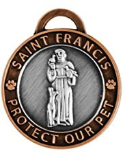 Luxepets Pet Collar Charm, Saint Francis of Assisi, Large, Antique Silver/Copper
