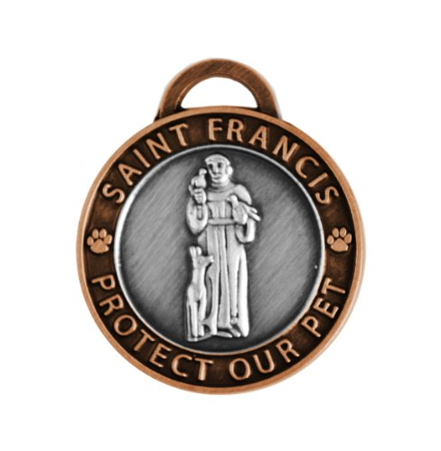 (Luxepets Pet Collar Charm, Saint Francis of Assisi, Large, Antique Silver/Copper)