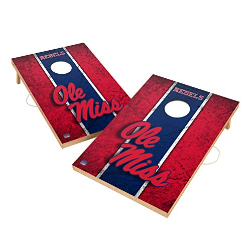 Victory Tailgate Mississippi Ole Miss Rebels NCAA Solid Wood 2x3 Vintage Cornhole Game Set - 2 Boards, 8 Bags