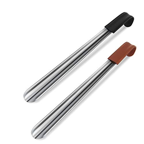 """Metal Shoe Horn Long Handle, Shoe Horn with Leather Strap, 16.5"""" Long Shoe Horn for Men and Seniors and Women, 2 Pack"""