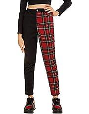WDIRARA Women's Two Tone Plaid Print Elastic Waist Fashion Straight Leg Pants
