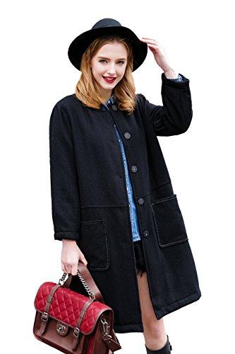 You.U Mujer Lana Negra Casual Coat / Collarless con botón Snap / Patch bolsillos