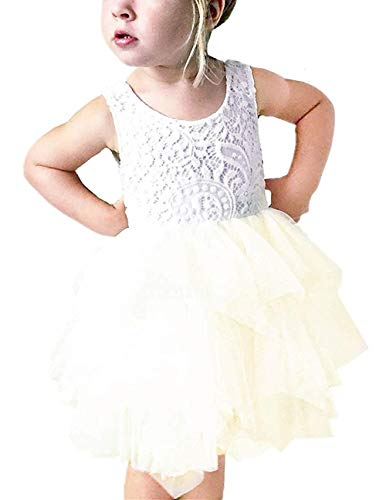 2Bunnies Girl Beaded Peony Lace Back A-Line Tiered Tutu Tulle Flower Girl Dress (No Applique Ivory, 6)]()