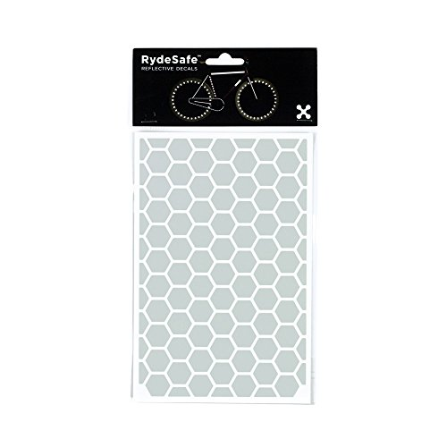 RydeSafe Reflective Decals - Hexagon Kit - Large (White) (Glowing Bicycle Wheels)