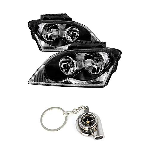 (Chrysler Pacifica Halogen OEM Style headlights Black Housing With Clear Lens+ Free Gift Key Chain Spinning Turbo)