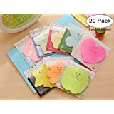 20 Packs Blank Self Sticky Notes(600 Sheets), Magnolora Candy Colors Self-Stick Note Pads, Paper Memo, Paper Notes Value Pack for Students, Office Use, Home Use(Heart, Leaf, Star, Apple, Flower, House Shaped etc)