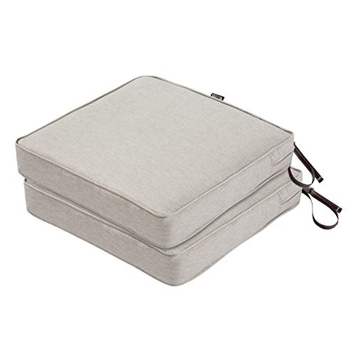 Classic Accessories Montlake FadeSafe Patio Seat Cushion, 2-Pack, Heather Grey, 19″W x 19″D x 3″Thick