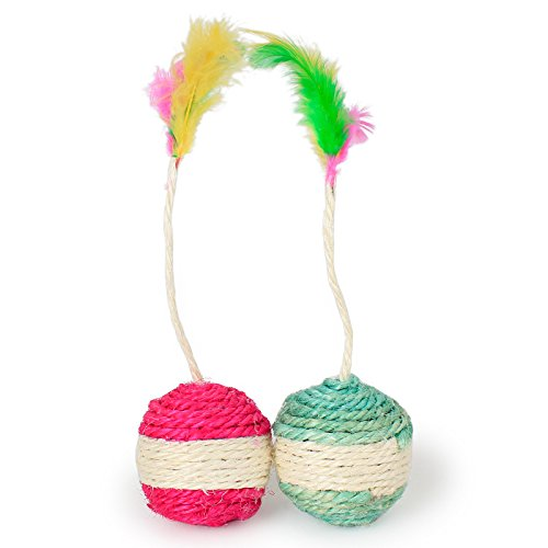 TOOGOO Animaux de compagnie Chat Chaton Jouet Roulement Sisal Gratter balle Drole Chat Chaton Jouer Poupees Tumbler Ball Animaux de compagnie Chat Jouets Interactive Jouet Plume