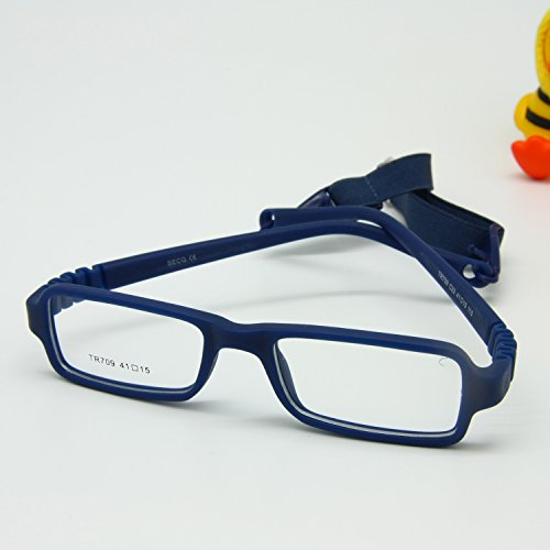EnzoDate Baby Eyeglasses & Strap Size 4115 Rectangle Children Glasses Frame with Elastic Cord Flexible One-piece Frame & Band Retainer (navy)