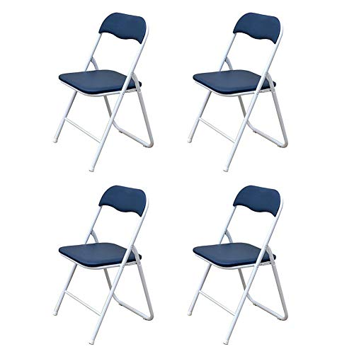 - LBYMYB Folding Chair Office Reception Chair Steel Frame Back Office Chair PU Seat 45X47X79cm4 Set Chair (Color : Blue)