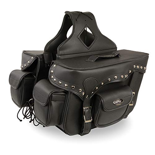 Double Strap Black Pvc Throw Over Motorcycle Saddlebags