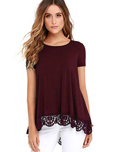 Dress One Jeans - Dress Tops Short Sleeve Lace Trim O-Neck A-Line Tunic Blouse Wine XL