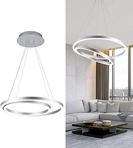 WELAKI LED Chandelier Modern LED Pendant Light 2 Rings Acrylic Modern Pendant Lighting Fixture