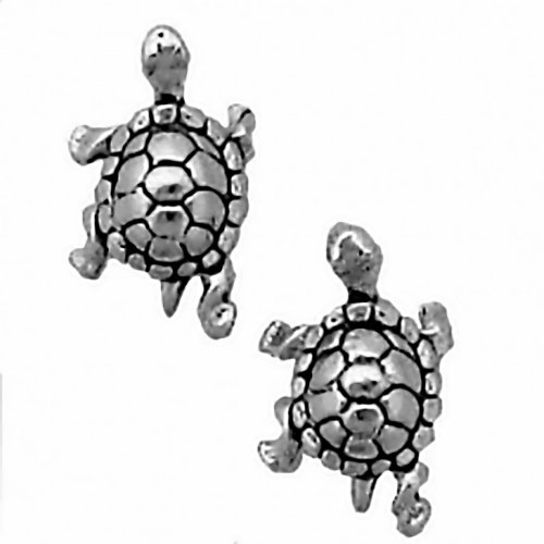 CM 925 Sterling Silver Turtle Earrings Studs Tiny Mini Tortoise Stainless Steel Posts and Backs