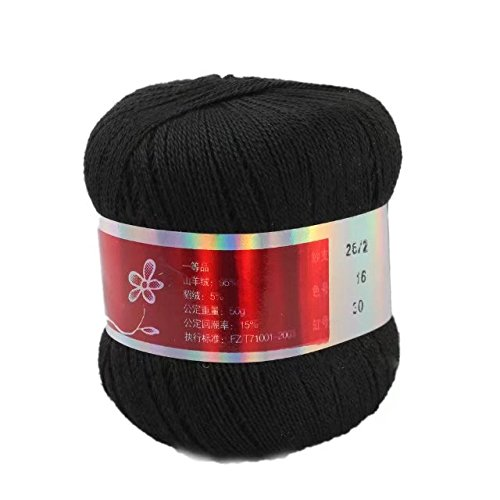 Celine lin One Skein Pure Cashmere Knitting Yarn,Black