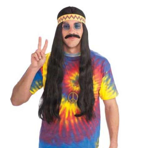 [Forum Novelties Men's Hippie Dude Headband Long Costume Wig, Black, One Size] (Hippie Male Adult Costumes)