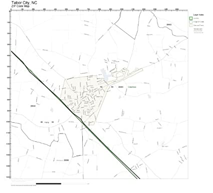Tabor City Nc Map.Amazon Com Zip Code Wall Map Of Tabor City Nc Zip Code Map Not