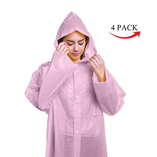Emergency Reusable Rain Poncho with Hood, Sleeves and Button Closure - One Size Fits Most Outdoor Activities, Hiking, Camping, Travel, Hunting - 100% Waterproof (Pink, 4 Pack) by MHF Outdoor