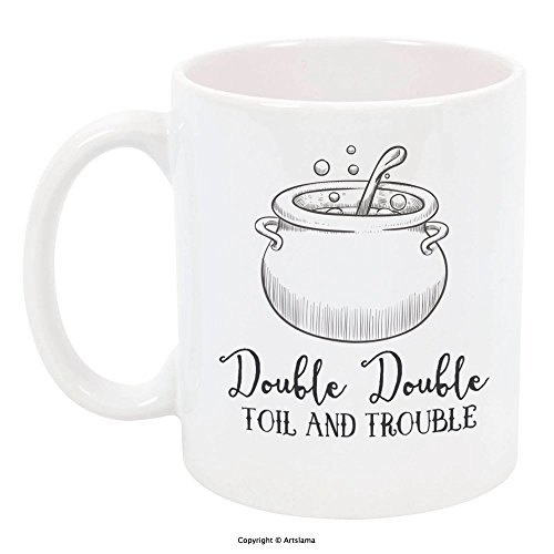 High Tide Mugs Double Toil and Trouble Halloween Holiday Coffee Mug with Cauldron, Gift Ideas, 11 oz by Artslama ()